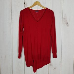 Vince Camuto Assymetrical V Neck Red Sweater - XS